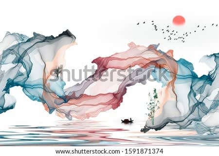 Ink landscape decorative painting abstract color art line background