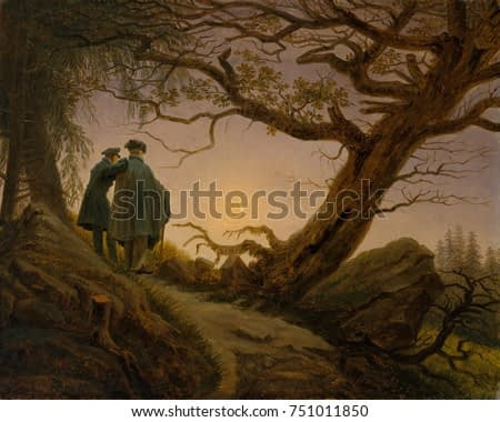 TWO MEN CONTEMPLATING THE MOON, by Caspar David Friedrich, 1825-30, German painting, oil on canvas. Figures are identified as Friedrich, at right, and his friend and disciple August Heinrich. The figu