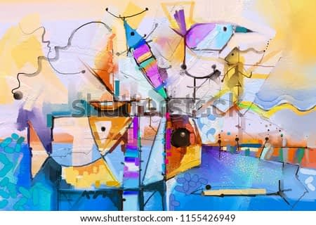 Abstract colorful fantasy oil painting. Semi abstract of tree, flower and fish in landscape. Spring ,summer season nature background. Hand painted, children painting style