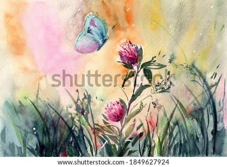 watercolor illustration of a bright meadow with high grass, wild field flowers and a butterfly