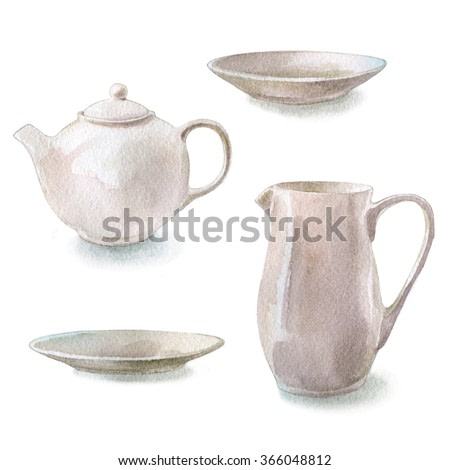 Hand drawn watercolor dishes