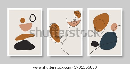 Trendy set of abstract creative minimalist artistic hand drawn compositions for wall decoration, as postcard or brochure design, vector illustration.