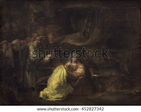 The Circumcision, by Rembrandt van Rijn, 1633, Dutch painting, oil on canvas. According to the Gospel of Luke, verse 2:21, Jesus was circumcised eight days after his birth. Rembrandt treats this fami