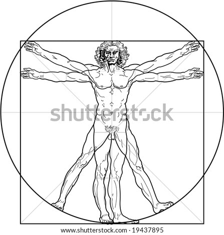 The Vitruvian man. Detailed drawing on the basis of artwork by Leonardo da Vinci (executed circa in 1490) by ancient manuscript of Roman master Marcus Vitruvius Pollio.