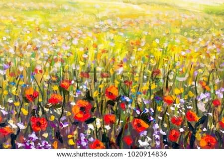 Flowers painting, red poppies, oil paintings landscape impressionism artwork