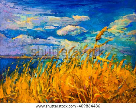 Original oil painting on canvas. Colorful landscape painting. Modern impressionism.