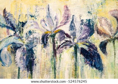 abstract acrylic painting of purple iris flowers