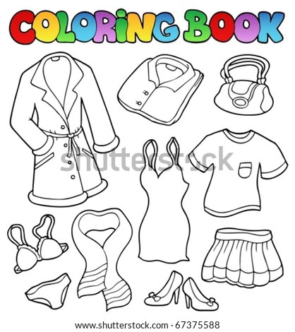 Coloring book dress collection 1 - vector illustration.