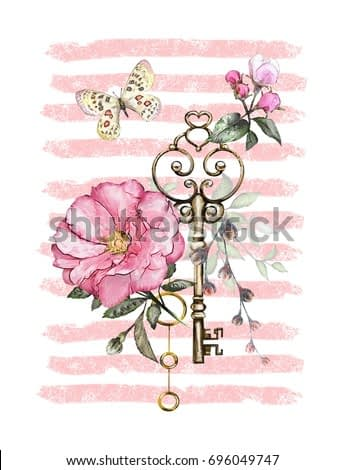 watercolor illustration with  flowers,  keys and feathers. background with flowers, jewelry, butterfly on strip. Cool print on T-shirt, Tattoo. Vintage