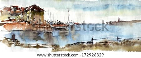 Port on the Mediterranean Sea, watercolor illustrations background