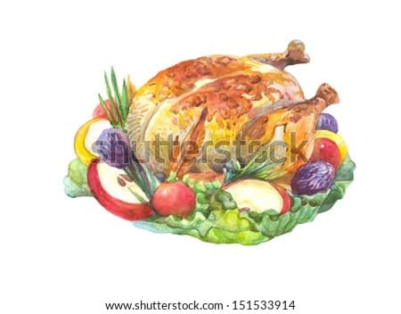 Thanksgiving roasted Turkey Garnished with  salad, apple, tomatoes,prunes, green onions,isolated on a white background Watercolor painting