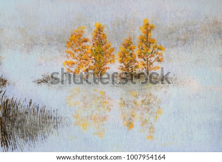 Painting landscape Lake in autumn