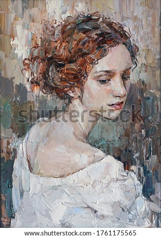 Portrait of a young, dreamy girl with curly brown hair on a mysterious abstract background. She looks very mystical and thoughtful. Palette knife technique of oil painting and brush.