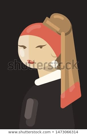 Girl with a Pearl Earring. Jan Vermeer inspired. Abstract art, flat vector painting.