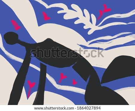 Woman Silhouette black body on blue and white background. Expressionism and Matisse painting style with plant and flower. art for print and poster