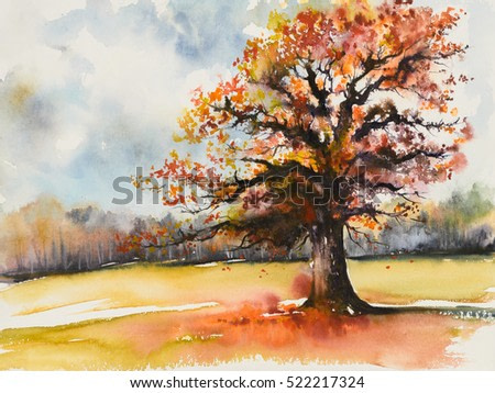 Picture of oak with autumn leaves.Picture created with watercolors.