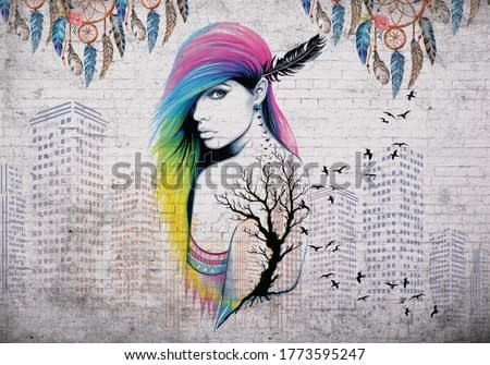 3d wallpaper Acrylic colorful painting of a beautiful girl with birds on cloudy background. Mysterious and surreal woman portrait.