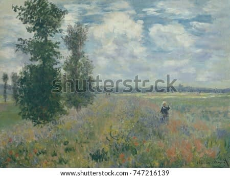 Poppy Fields near Argenteuil, by Claude Monet, 1875, French impressionist painting, oil on canvas. It depicts the plain of Gennevilliers, southeast of Argenteuil
