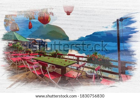 Watercolor painting of lake in Hallstatt, Alps, Austria, Europe