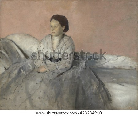 Madame Rene de Gas, by Edgar Degas, 1872-73, French impressionist painting, oil on canvas. Sitter is Degas' sister-in-law, the abandoned American wife of his younger brother Rene. Portrait was made d
