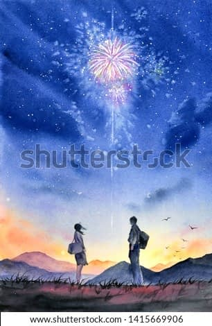 Watercolor Painting - Couple under  Firework Night Sky