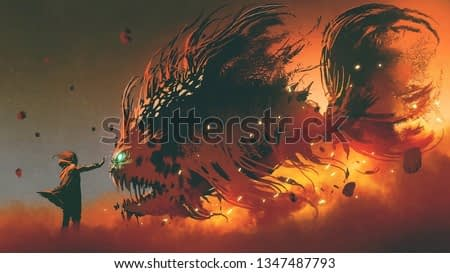 wizard summoning giant fish creature with fire magic, digital art style, illustration painting