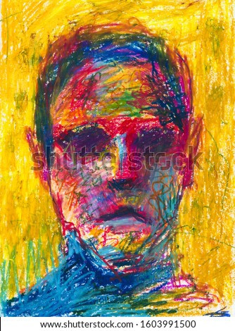 Man abstract portrait hand drawn color illustration. Male face close up expressionist painting. Facial features, unemotional expression multicolor pastel drawing. Person creative portraiture