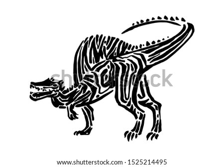 Ancient extinct jurassic spinosaurus dinosaur vector illustration ink painted, hand drawn grunge prehistoric reptile, black isolated silhouette on white background.