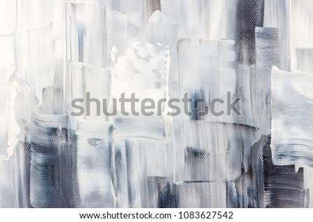 Artistic canvas with black and white brush strokes. Abstract painting background.