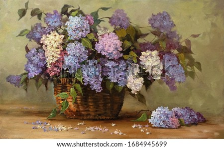beautiful bouquet of lilacs in a wicker basket,fine art, oil painting, blooming lilac, beautiful, still life, spring, flowers,craft, profession