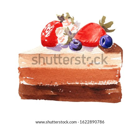 Watercolor illustration of chocolate  cake with strawberries and blueberries