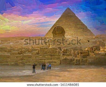 Panorama picture of Tourist visiting The Pyramids of Giza including The Great Sphinx during the evening colorful sunset. Cairo, Egypt. Abstract oil painting.