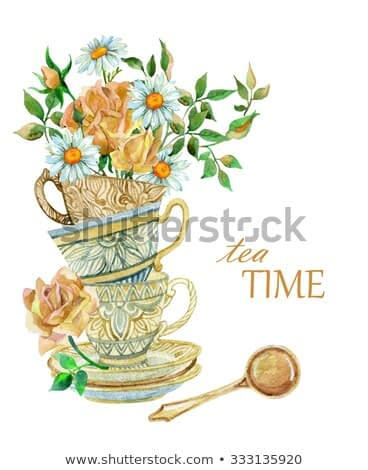 Watercolor tea cups background with spoon and flowers. Tea crockery in victorian style. Hand painted  illustration