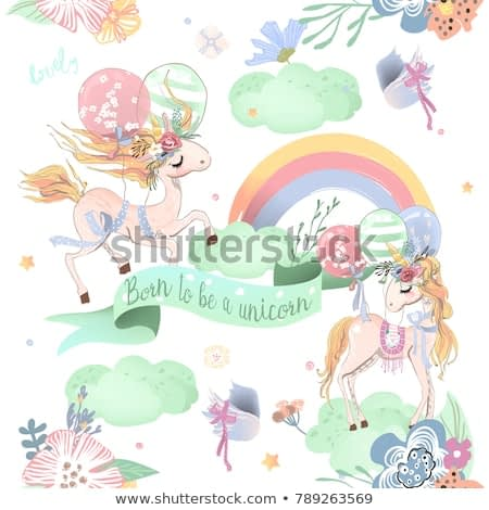 Cute unicorns seamless pattern. Kids pattern with unicorns, flowers, balloons, clouds and rainbow