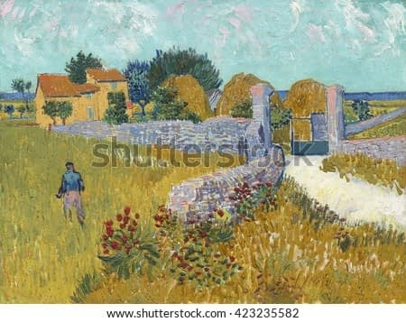 Farmhouse in Provence, by Vincent van Gogh, 1888, Dutch Post-Impressionist painting, oil on canvas. Van Gogh's time in Arles was amazingly productive. In about 15 months just 444 days
