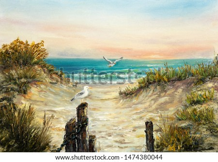 Original  oil painting of ocean beach dunes with seagulls  on canvas.Modern Impressionism, modernism,marinism