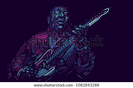 Musician with a guitar abstract vector illustration with large strokes of paint. EPS 10 format