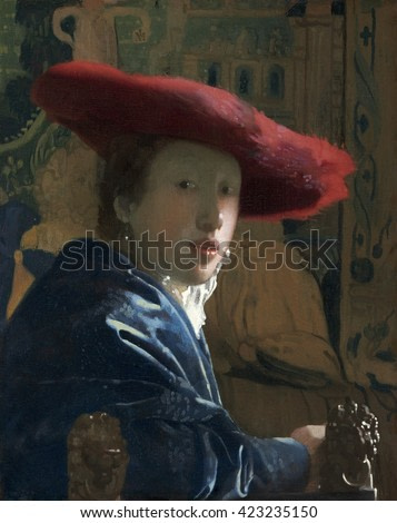 Girl with the Red Hat, by Johannes Vermeer, c. 1665-66, Dutch painting, oil on canvas. Portrayed with spontaneity and informality, the girl makes her eye contact with the viewer