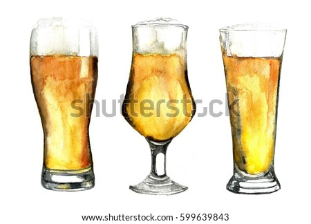 Watercolor beer glasses set isolated on white background