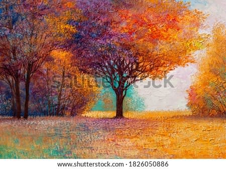 Autumn forest , orange leaves.Original landscape painting with oil paints.