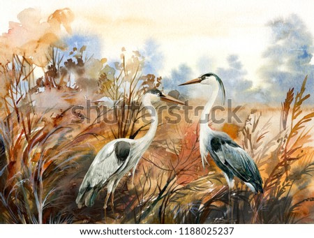 autumn landscape with birds heron, watercolor illustration