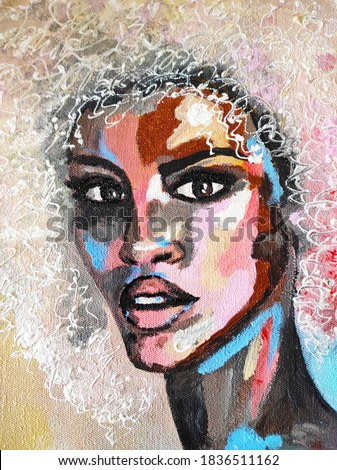 Black lives matter. African woman in turban portrait pop art style picture. African woman painting. Colorful Exotic Portrait of a Beautiful Dark Skinned Woman