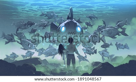 a man holding a mermaid confronts a group of legendary fish under the sea, digital art style, illustration painting