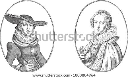 Two depictions on an album page. On the left the courtesan Maria van Strasbourg and on the right the butcher's wife Catrijn van Praag, vintage engraving.
