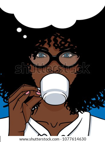 Vector illustration of African American type woman face with glasses and curly hair. Beautiful girl drinking a coffee