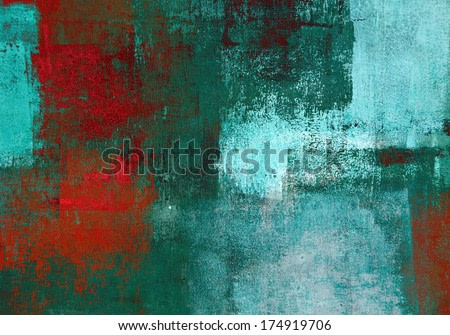 Turquoise and Red Abstract Art Painting