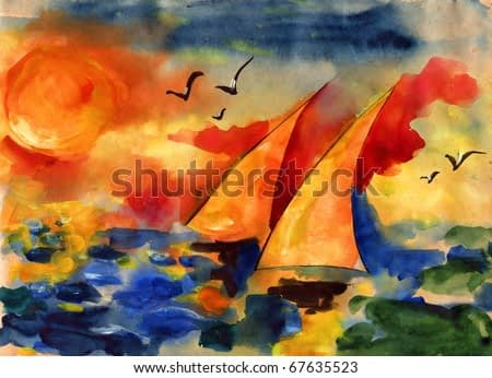 Pair it is yellow white sails against the sky and the sea and the coming sun drawn on water color kraft paper water color colors