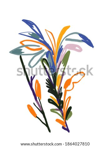 Abstract Flower painting with Raoul dufy and Fauvism style. Modern and Trendy art for print and poster. Illustration Isolated on white.