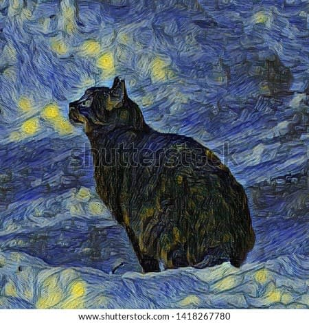 Digital painting Shambhala cat in Vincent Van Gogh impressionist art style. Artificial neural network picture.