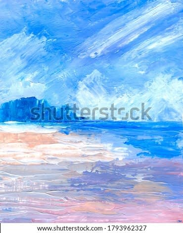 Seascape. Oil painting in pastel colors. Space for text